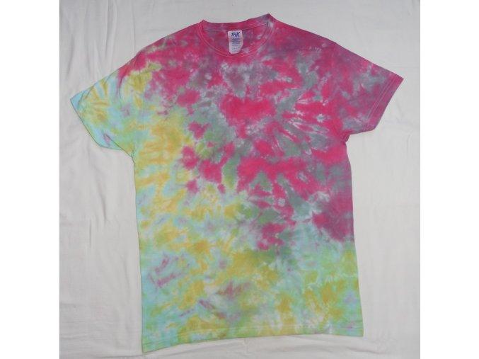 Ručně batikované bavlněné tričko Tříšť vel. S