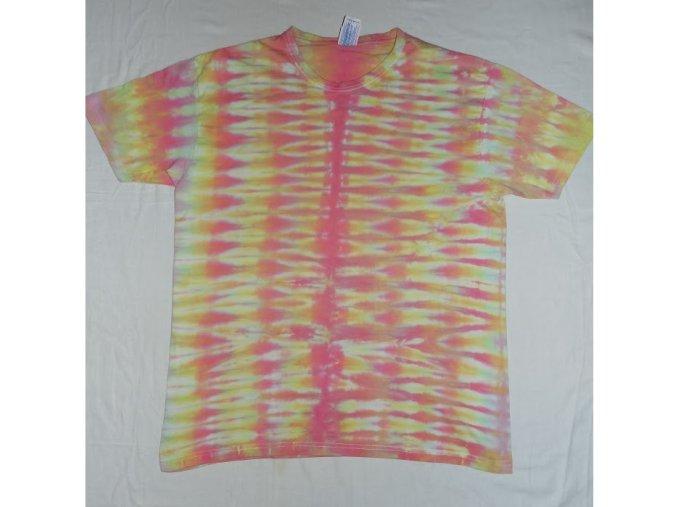 Ručně batikované bavlněné tričko Prskavky vel. XL