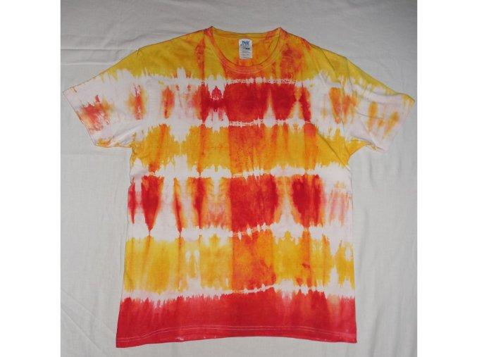 Ručně batikované bavlněné tričko Kostka vel. L