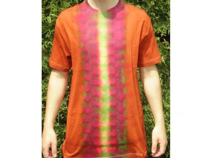 Ručně batikované bavlněné tričko Stopa vel. L