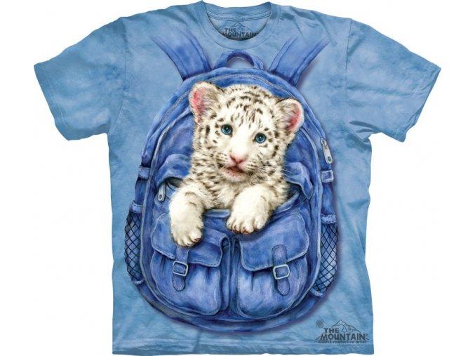 tričko, bílý tygřík, batoh, potisk, mountain, dětské