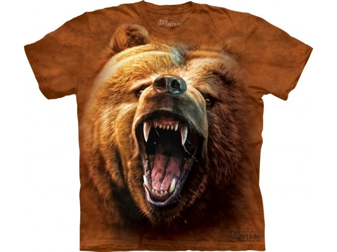 tričko, řvoucí medvěd, hlava, potisk, mountain, dětské