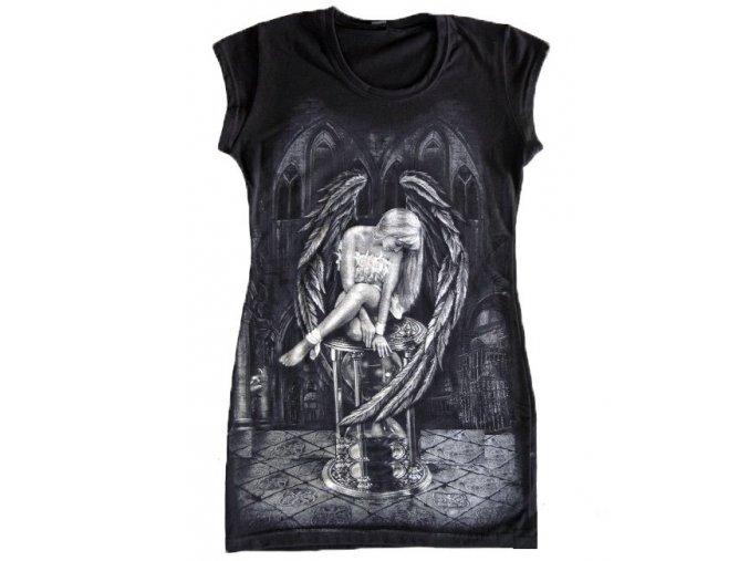 černá tunika, bavlna, potisk, gotika, anděl času, přesýpací hodiny