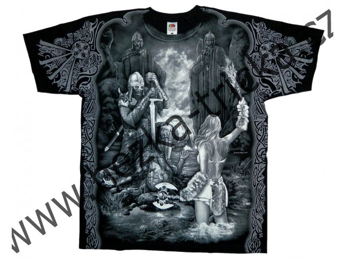 tričko, potisk, viking,Valhalla, vlci, sekera