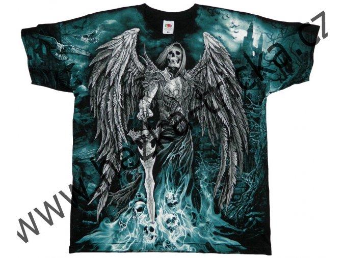 tričko, potisk, lebky, meč, smrt, hororové