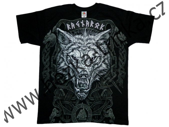 tričko, potisk, vlk, Fenrir, runy, Ragnarok