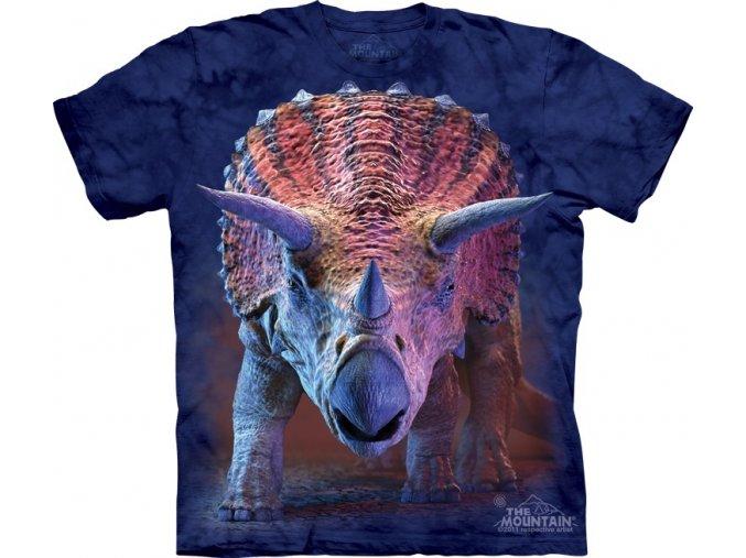 tričko, dětské, dinosaurus, triceratops, mountain, potisk
