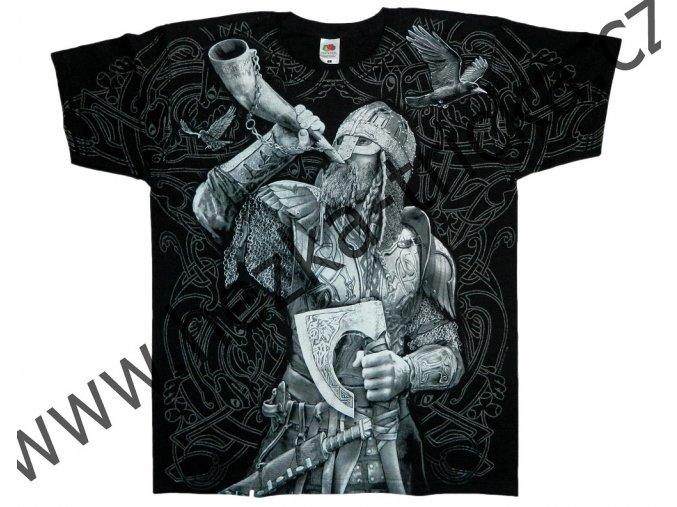 tričko, potisk, viking, strážce, vlci, celoplošný