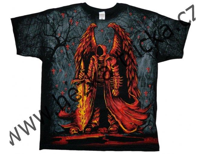 tričko, potisk, posel smrti, krvavý přízrak, ohnivý meč, hororové