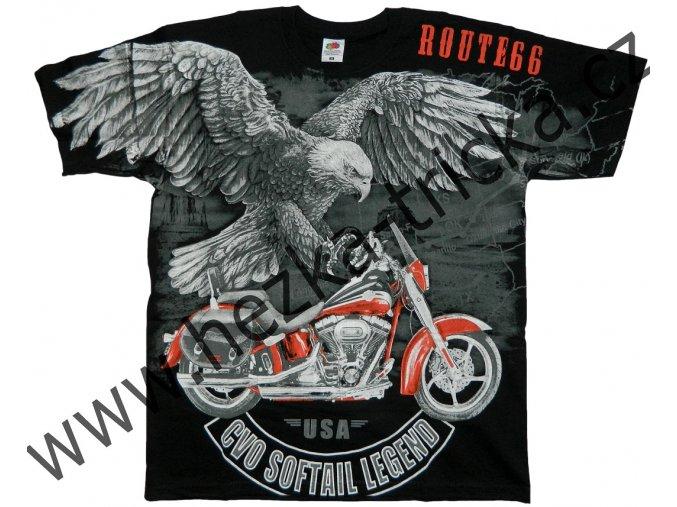Chopper tričko s celoplošným potiskem orla a motorky