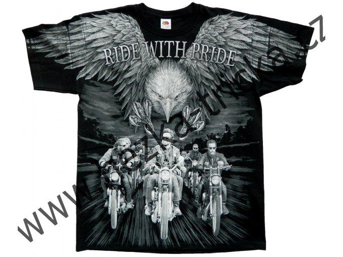 Chopper tričko s celoplošným potiskem orla a jezdců