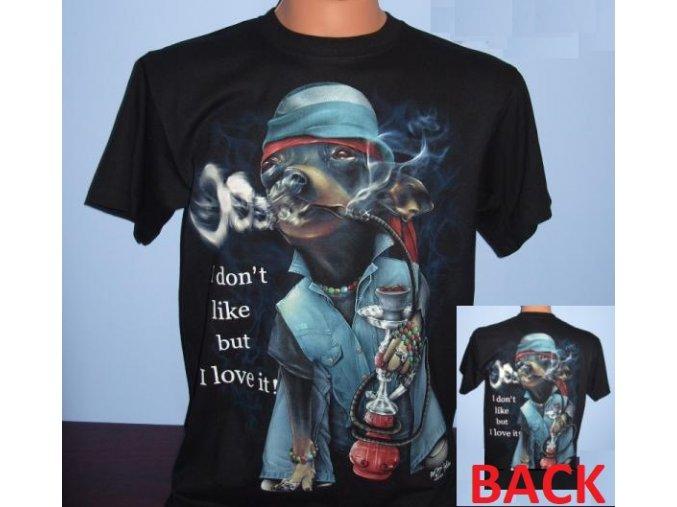tričko, vodní dýma, pes, čivava, svítící, fluorescenční potisk