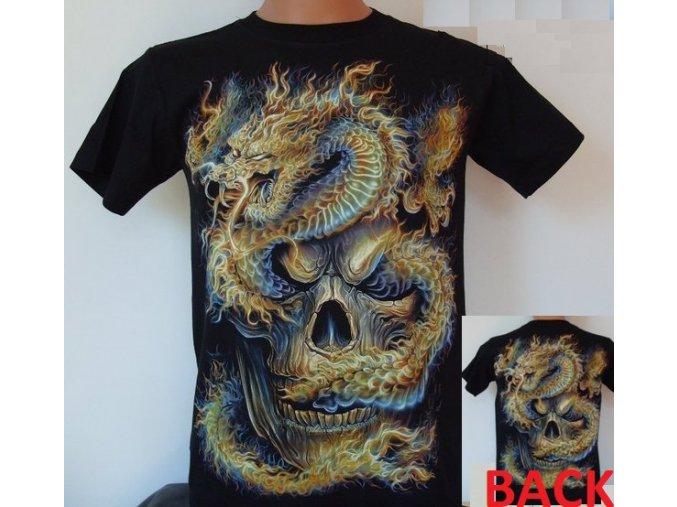 tričko, drak, lebka, rock eagle, svítící, fluorescenční potisk