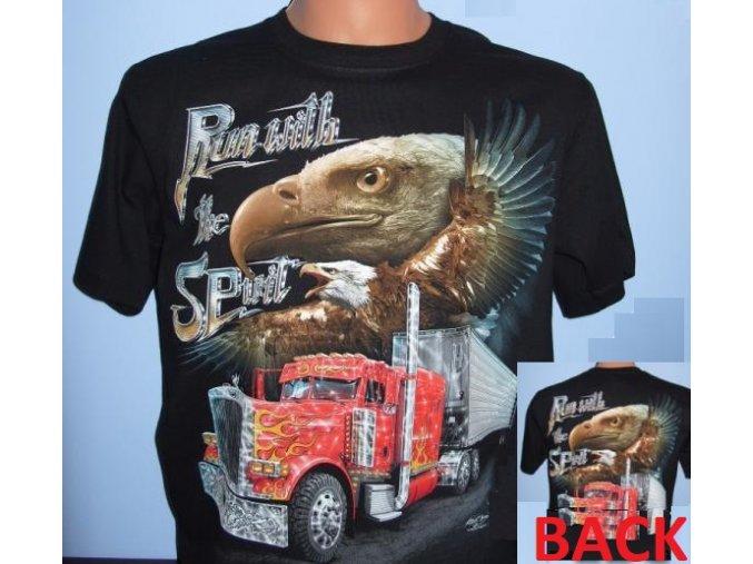 tričko, truck, kamion, orel, svítící, fluorescenční potisk