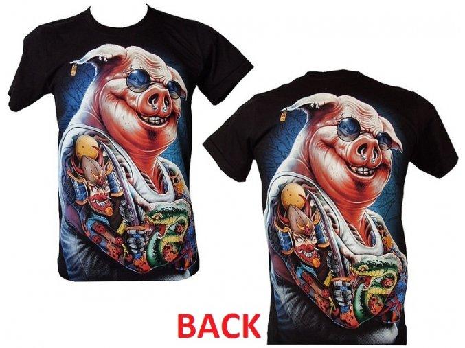 tričko, prase, tetování, rockové, svítící, fluorescenční potisk