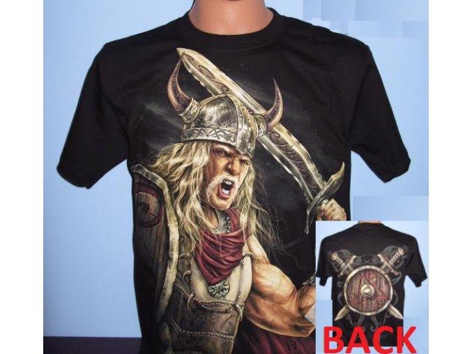 tričko, viking, meč, štít, svítící, fluorescenční potisk