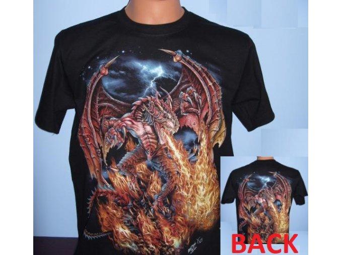 tričko, drak, oheň, plameny, svítící, fluorescenční potisk