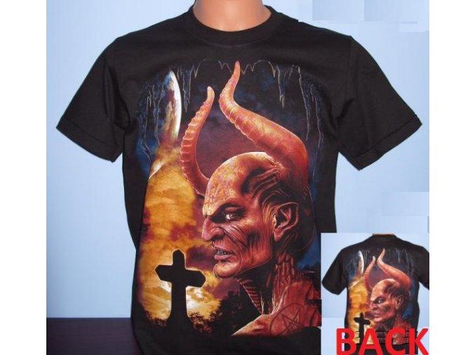 tričko, satan, čert, plameny, rohy, rock eagle