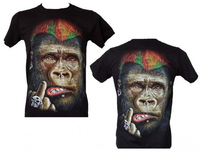 tričko, opice, punk, fakáč, svítící, fluorescenční potisk