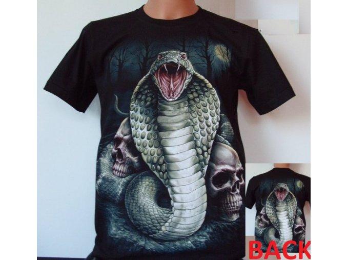 tričko, had, kobra, lebky, metalové, horor