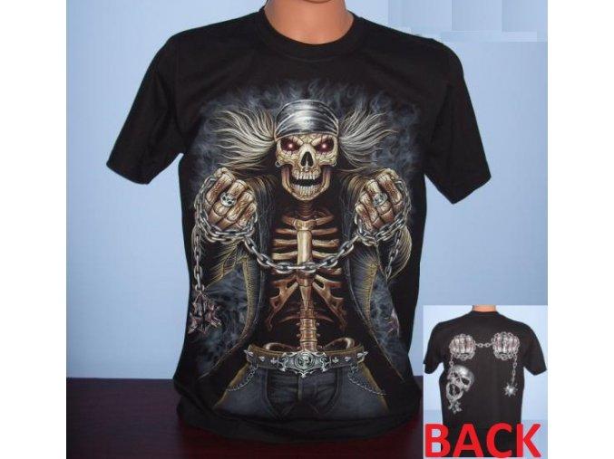 tričko, metalové, kostlivec, řetězy, svítící, fluorescenční potisk