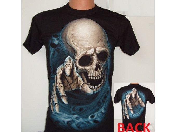 tričko, lebka, horor, metalové, svítící, fluorescenční potisk