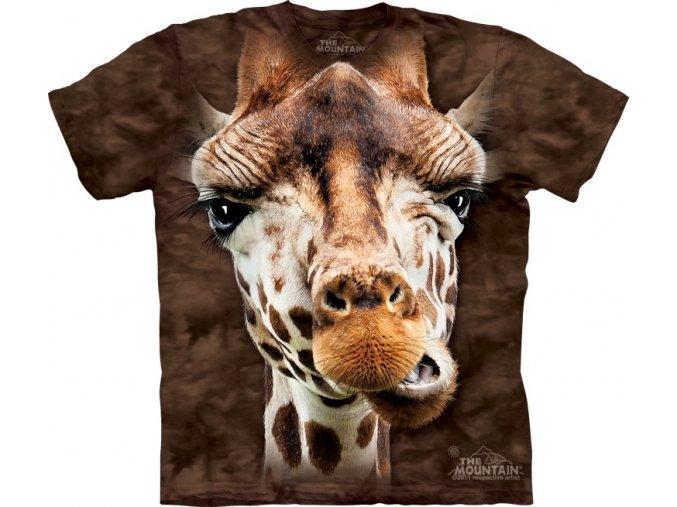 Dětské bavlněné tričko s batikovaným 3D potiskem žirafy