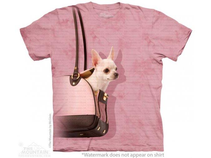 tričko, pes čivava, kabelka, potisk, mountain, dětské