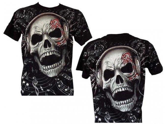 tričko, lebka, sluchátka, noty, metalové, rockové