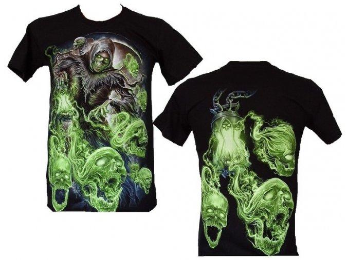 tričko, smrtka, horor, noční můry, svítící, fluorescenční potisk