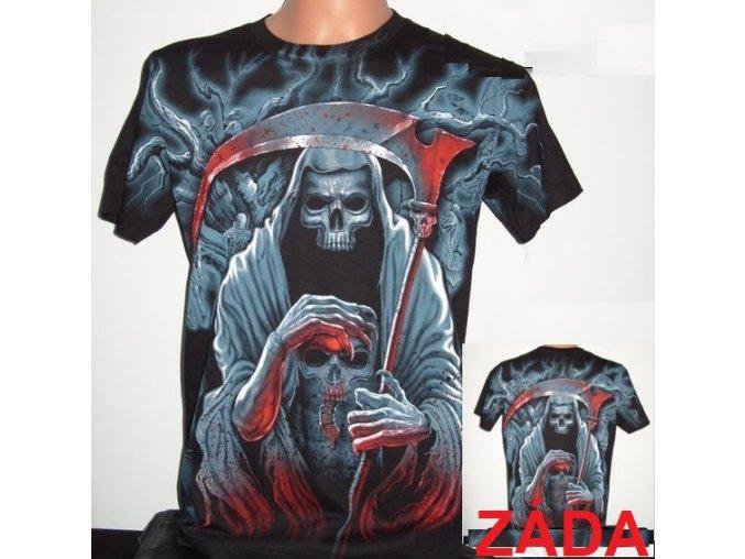 tričko, lebka, kostlivec, smrt, rockové, horor