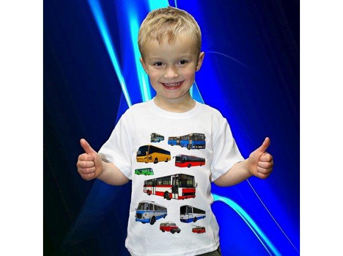 tričko, dětské, pánské, potisk, autobus