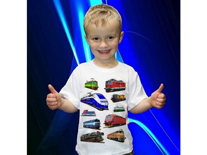 tričko, dětské, pánské, potisk, vlak, lokomotiva