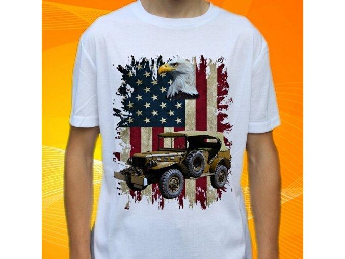 tričko, dětské, pánské, potisk, armádní, dodge usa
