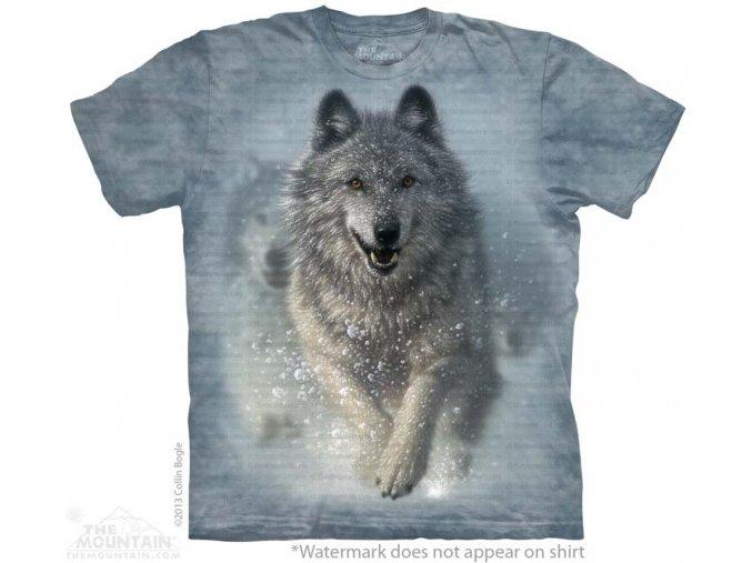 dětské tričko-vlk-sníh-mountain-batikované-bavlněné