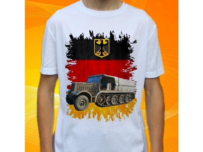 tričko, dětské, pánské, potisk, vojenské, pásové auto