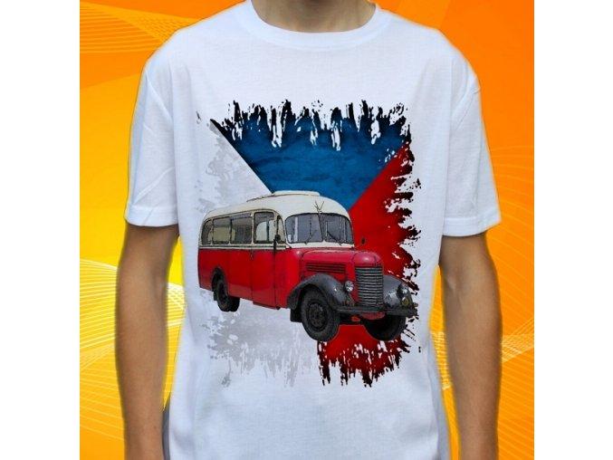 tričko, dětské, pánské, potisk, autobus praga, veterán