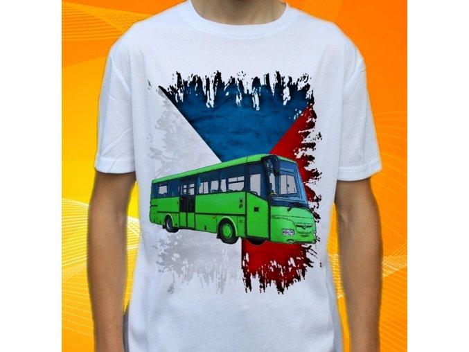tričko, dětské, pánské, potisk, autobus, sor