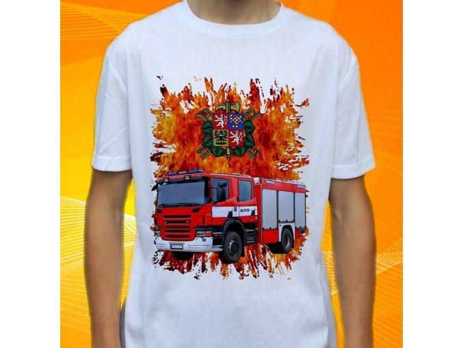 tričko, dětské, pánské, potisk. hasičské auto, scania cas