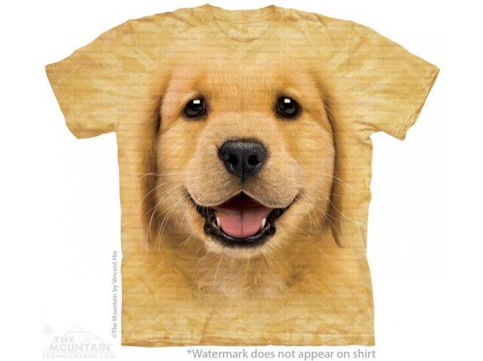 tričko, dětské, štěně, zlatý retrívr, mountain, potisk