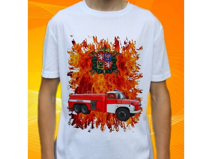 tričko, dětské, pánské, potisk. hasičské auto, tatra stříkačka