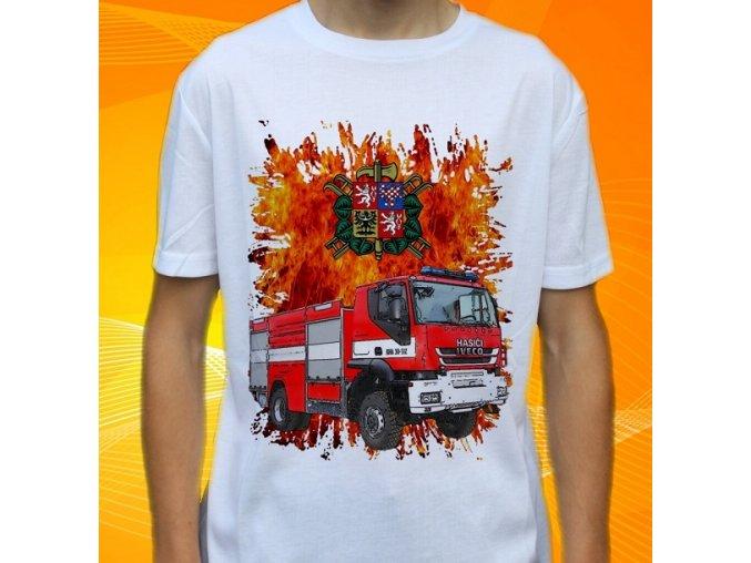 tričko, dětské, pánské, potisk. hasičské auto, iveco