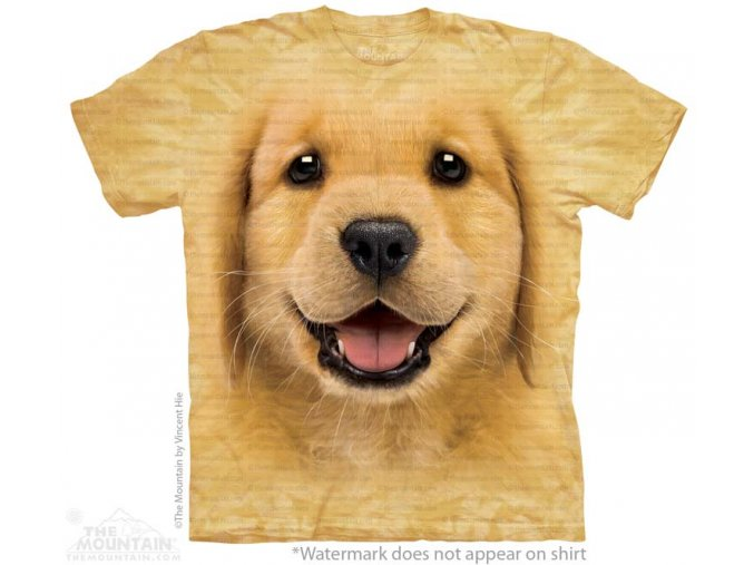 dětské tričko-štěně-zlatý retrívr-mountain-potisk-pes