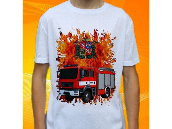 tričko, dětské, pánské, potisk. hasičské auto, man cas