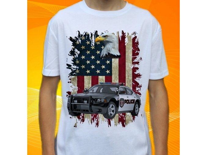 tričko, dětské, pánské, potisk, policie usa, dodge