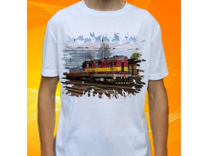 tričko, dětské, pánské, potisk, lokomotiva, kocour