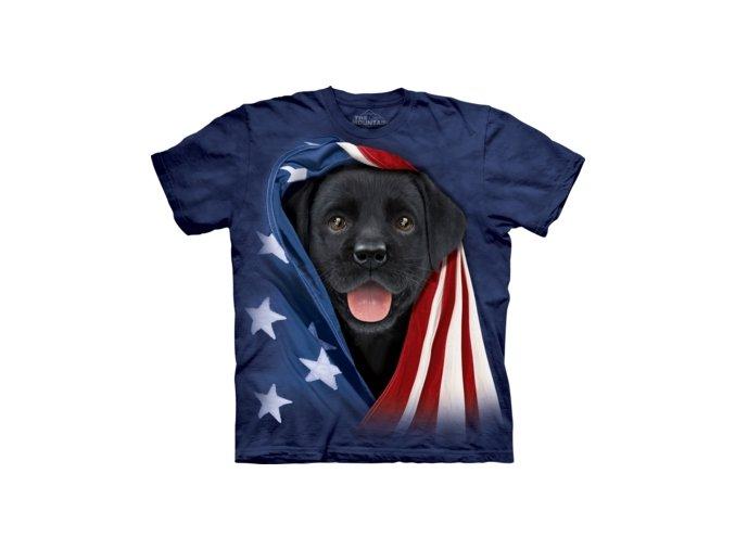 dětské tričko-bavlněné-batikované-potisk-černé štěně-americká vlajka