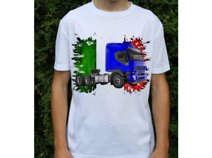tričko, tahač, kamion, potisk, iveco stralis 2012 MODRÝ