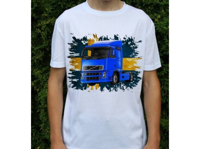 tričko, tahač, kamion, potisk, volvo fh42 modrý