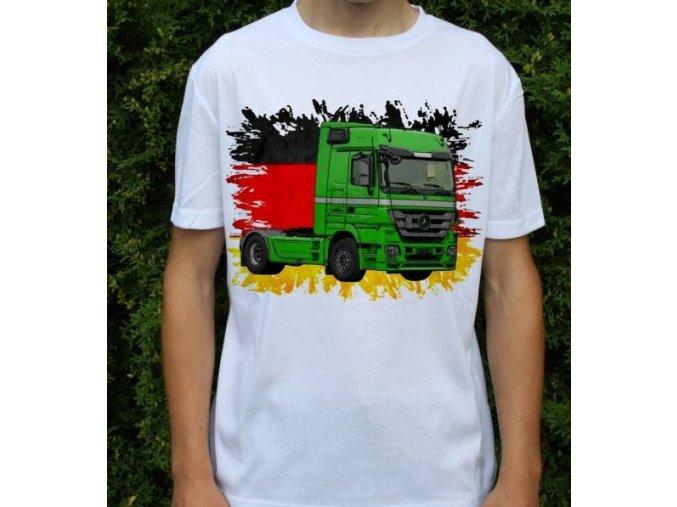 tričko, tahač, kamion, potisk, mercedes actros zelený